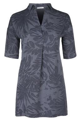 Robe tunique en lyocel imprimé tropical, Marine