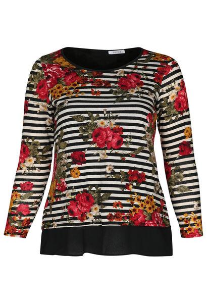 T-shirt imprimé rayé et fleurs - Noir
