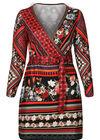 Robe mix d'imprimés ethniques, multicolor