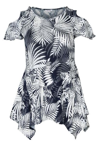 Tunique t-shirt imprimé gomme feuilles - Marine