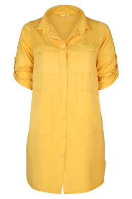 Robe chemise en lyocel uni, Ocre