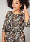 Robe imprimé léopard avec nœud, Noir