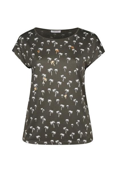 T-shirt coton imprimé palmiers - Kaki