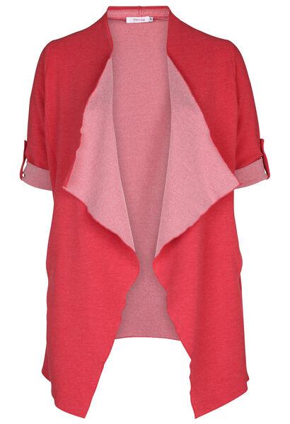 Veste longue en maille rayée - Rouge