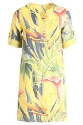 Robe tunique en lin imprimé tropical