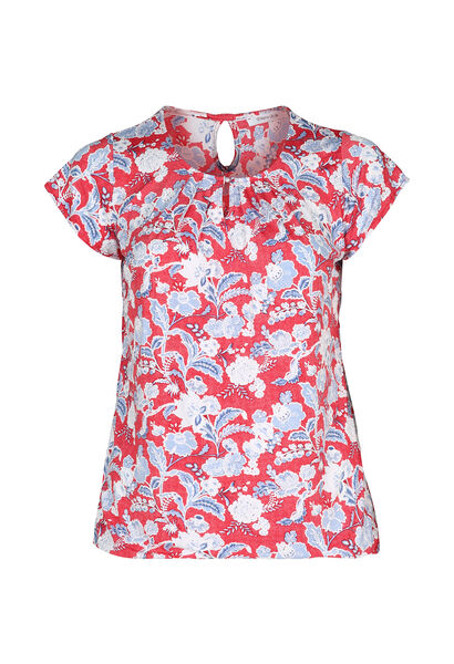T-shirt maille froide imprimé gomme fleurs et feuilles - Orange