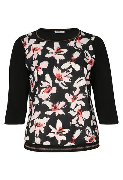 T-shirt bi-matière imprimé fleuri - Noir