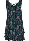 Robe sans manches imprimé feuilles et flamants roses, Vert