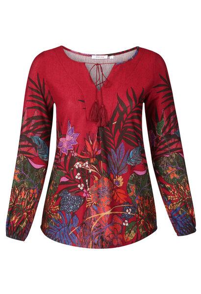 Tunique T-shirt imprimé fleurs et feuilles - Bordeaux