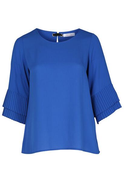 Blouse en voile plissée - Bleu Bic