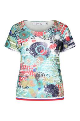 T-shirt en dentelle imprimée, multicolor