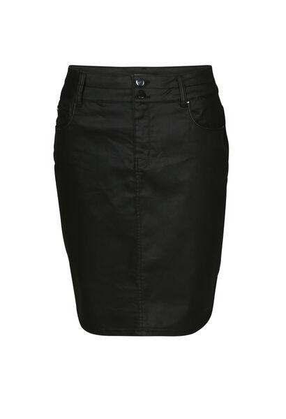 Jupe courte coton enduit - Noir