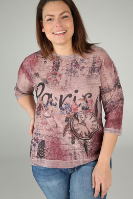 "T-shirt ""Paris"", Vieux rose"