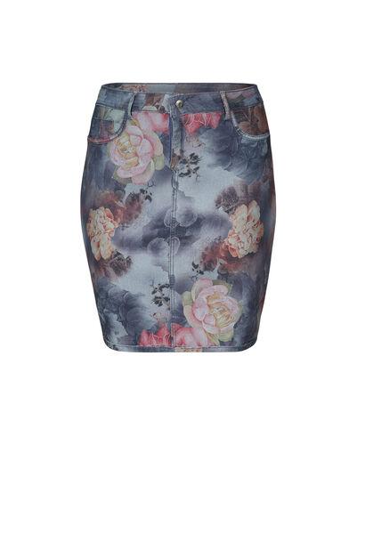 Jupe en jeans réversible imprimé fleuri - multicolor