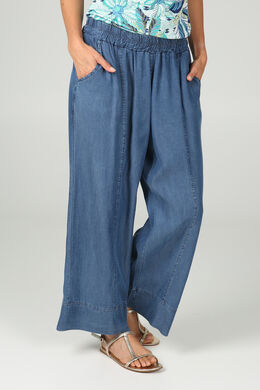 Pantacourt large en lyocel jeans, Denim