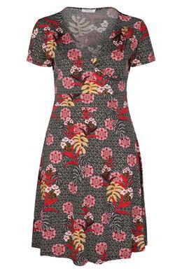 Robe imprimé fleurs tropicales, Noir