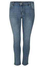 Jeans slim 7/8 bandes strass
