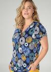 T-shirt maille froide imprimé ronds, Bleu Bic
