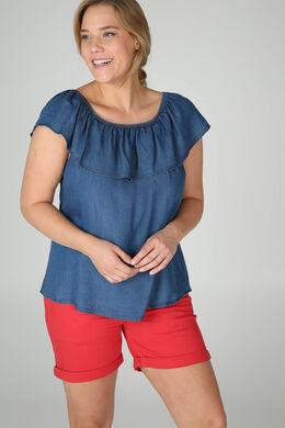 T-shirt lyocel jeans encolure élastiquée, Denim
