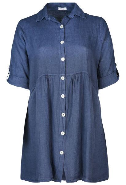 Robe chemise en lin - Marine