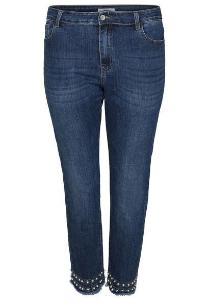 Jeans slim 7/8 détails perles et strass - Denim