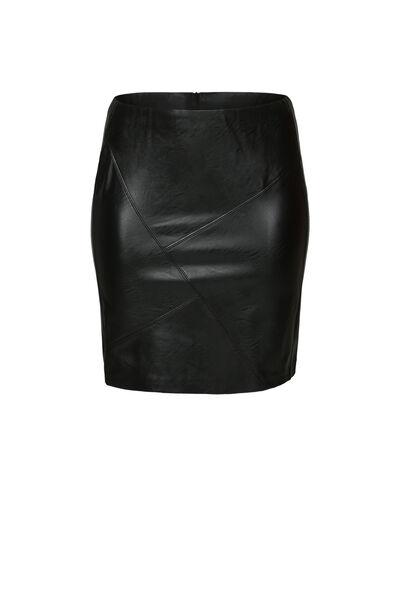 Jupe faux cuir découpes asymétriques - Noir