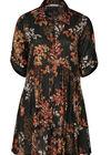 Robe imprimé fleurs et rayures, Noir