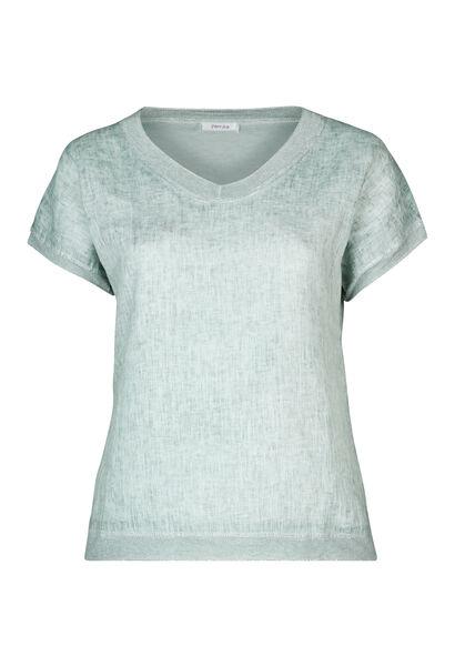 T-shirt devant lin dos en maille - Vert d'Eau