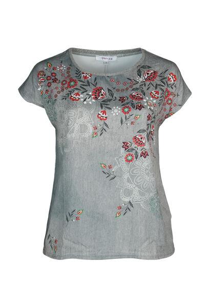 T-shirt bi-matières imprimé - Kaki