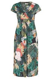 Robe longue maille froide imprimé tropical